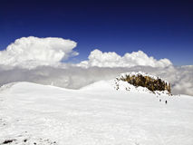 At the top of Elbrus Stock Images
