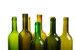 Top of empty green wine bottle isolated Stock Photos