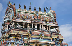 Top of entrance Gopuram at Mahalingeswarar Temple. Royalty Free Stock Images