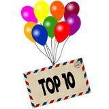 TOP 10 on envelope pulled by coloured balloons isolated on white background. Illustration Stock Photo