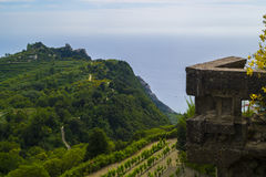 At the top of Epomeo - ancient ruins. View from Volcano Epomeo to the vineyard on the hills, Ischia, Italy Stock Images