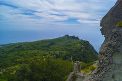 At the top of Epomeo. View from Volcano Epomeo to the vineyard on the hills, Ischia, Italy Stock Photography
