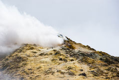 On the top of etna volcano in sicily. On the top of etna volcano the rock is covered with sulphur and became yellow, cloud of toxic gas spread from the crater Stock Images