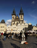 TOP Europe City Prague. Tourism in one of the most popular cities in Europe. The Old Town Square in Prague, Czech Republic. In the background is one of the most Royalty Free Stock Photo