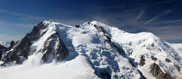 The top of Europe. View on the mont Blanc du Tacul, mont Maudit, mont Blanc and l'aiguille du gouter (from left to right Stock Images