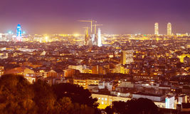 Top evening kind of Barcelona with main landmarks Stock Photography