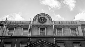 Top Facade of Old Bristol Royal Infirmary Hospital. Black and white horizontal photography Stock Photography