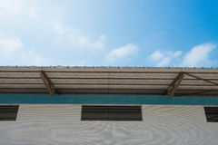 Top of factory building with copy space. Top of a factory building with copy space Stock Photo