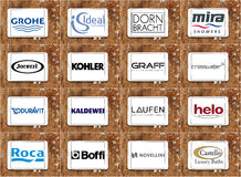 Top famous bathroom appliance brands and logos Stock Photography