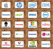 Top famous computer (PC) brands Royalty Free Stock Photos