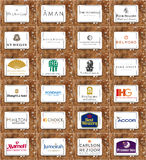 Top famous hotel and resort chains brands and logos Royalty Free Stock Photography