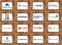 Top famous investment companies logos Stock Photos