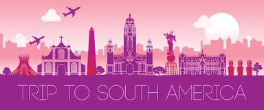 Top famous landmark of South america,silhouette design pink colo Stock Image