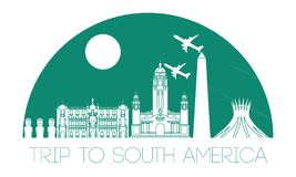 Top famous landmark of South america,silhouette and half of circ Stock Photo