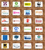 Top famous non governmental organizations (ngo) logos and icons Royalty Free Stock Photography