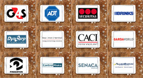 Top famous private guard And security companies logos and icons royalty free stock photography