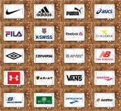 Top famous sportswear companies brands and logos Stock Photography