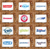 Top famous toothpaste brands and logos Royalty Free Stock Images