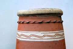 The top of a Fareham Red chimney pot with distinctive white deco. Ration Royalty Free Stock Photo
