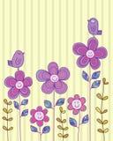 Top feliz de la tarjeta del pájaro de la flor Fotografía de archivo libre de regalías
