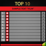 Top 10 films / vectore background. Vector background top 10films. 10 listing Royalty Free Stock Image