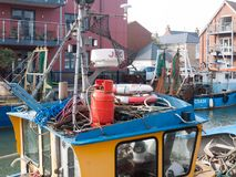 Top of fishing boat with red gas canister. Essex; England; UK Royalty Free Stock Photos
