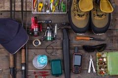 Top fishing tackles and fishing gear Royalty Free Stock Image