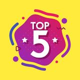 Top 5 five words on purple abctract background. Vector illustration.  stock illustration