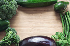 Top flat lay view of fresh organic vegetables Royalty Free Stock Photography