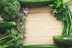 Top flat lay view of fresh organic vegetables Stock Photo