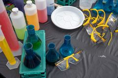 Top flat shot of Lab Flask with colorful liquid for science experiments stock images