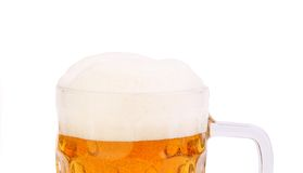 Top foam on the mug of beer. Isolated on a white background Stock Images