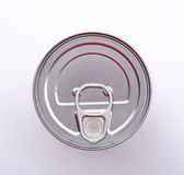 Top of Food Can. Top of silver food can, showing the ring pull on the lid royalty free stock photography