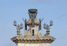 Top of  fountain at the center of the Espanya Square, Barcelona Stock Images