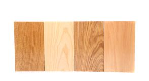 Top four boards (oak, eim, acacia, lime). On a white background Stock Images