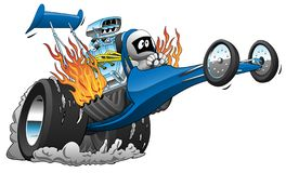 Top Fuel Dragster Vector Cartoon Illustration. Hot cartoon top fuel rail dragster race car illustration, long sleek and bold blue, popping a wheelie, huge engine stock illustration
