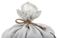 Top of full white sack tied by rope. Isolated on background Royalty Free Stock Photo