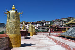On the top of Ganden Monastery stock photos