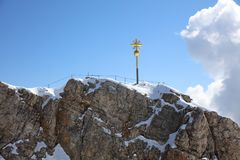 Top of Germany – the Summit Cross of Zugspitze Mountain Stock Photography
