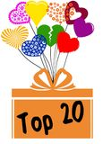 TOP 20 on gift box with multicoloured hearts. Illustration concept Royalty Free Stock Photography