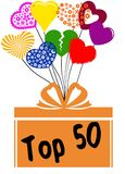 TOP 50 on gift box with multicoloured hearts. Illustration concept Stock Photo