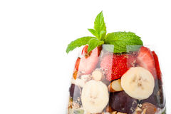 Top on glass with fruit salad Stock Photo