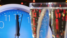 Top of glasses with champagne on New Year Eve stock footage