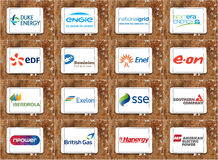 Top global power, energy, electric utility companies logos and brands Royalty Free Stock Images