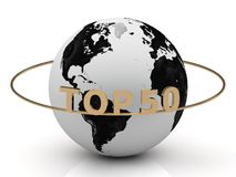 TOP 50 on a gold ring around the earth Stock Image