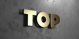 Top - Gold sign mounted on glossy marble wall  - 3D rendered royalty free stock illustration. This image can be used for an online website banner ad or a print Stock Photography