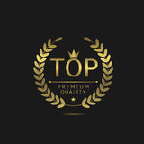 Top golden label. Luxury icon with laurel wreath, Royal emblem Royalty Free Stock Photo