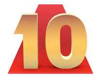 Top 10. Golden Top 10 on red carpet. 3d concept of achievement Royalty Free Stock Image