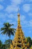 Top of golden stupa at Shwedagon pagoda Stock Photos