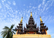 Top of golden stupa at Shwedagon pagoda. Top of golden stupa at Shwedagon Paya Pagoda in Yangon, Myanmar Stock Image